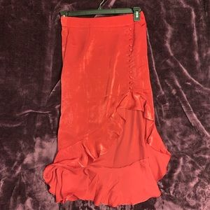 Red satin ruffle midi skirt